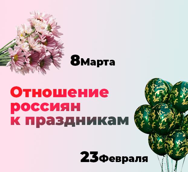 Отношения россиян к праздникам : 23 февраля vs 8 марта